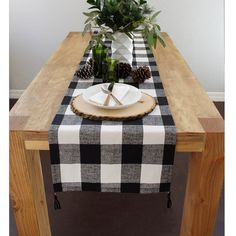 Buffalo Plaid Modern Fall Table Runner with by celineandkate