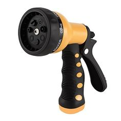 Etronic Heavy Duty Garden Hose Nozzle Spray Nozzle Hand Sprayer  7 adjustable handy watering spray pattern selector for all household watering chores: Center, Cone, Flat, Jet, Mist, Shower, Soaker  Ergonomic rubber comfort grip for long time cushion comfort to your hands  Squeeze push lever hold-open lock clip for continuous water flow  Fits all standard garden hoses. Ideal for watering lawn and garden, dogs and pets, home and car wash  Quality materials built to last. The Etronic Wate...