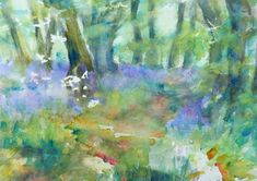 contemporary watercolour painting print impressionist fine art giclee blue bell abstract waseley hills wall art home decor special gift Watercolor Print, Watercolour Painting, Painting Prints, Fine Art Prints, Original Paintings, Original Art, Impressionist Art, Art Sketches, Abstract Art