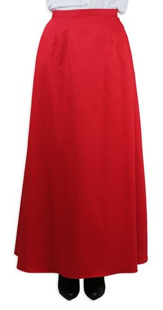 Brighten up the fair or anywhere you dare wearing our Cotton Twill Walking Skirt in Red. Candy apple colored, this sweet Victorian-inspired showstopper is a real treat.Perfect attire for so many 19th century diversions, this cotton skirt is a real pleaser with a variety of blouses. With its ankle length and slim late 1800's cut, the skirt needs no hoop or petticoat, but can also be worn with our Edwardian Hoop Underskirt. The skirt is 100% cotton with a two-button adjustable closure at th...