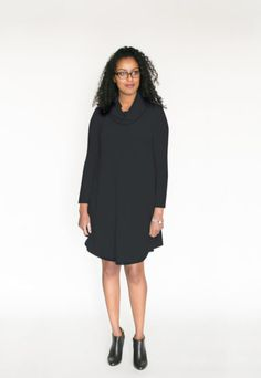 *pre-sale* Cowl Neck Dress – marine (ships in 2 to 5 weeks)  $98.00    All the comfort and style of our swing dresses plus a lovely cowl neck! This brand new dress is going to be a hit for sure! We have changed the bottom hemline and made the front and back longer than the sides to create a nice look with tall boots or your favourite short booties (we love to wear ours with our Poppy Barley shoes).