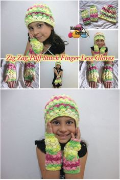 Zig Zag Puff Stitch Finger less Gloves – Free Crochet Pattern and video tutorials for both Right and Left handed - Meladora's Creations