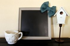 12x12 Khaki Chalkboard Frame with Blue Burlap Bow by TheRusticLily #theRusticLily #etsy #handmade #chalkboard #frame #burlap