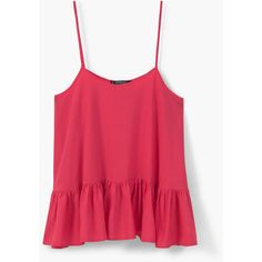 MANGO Ruffled Hem Top (34 CAD) ❤ liked on Polyvore featuring tops, flounce tops, round top, flutter-sleeve top, red top and ruffle top