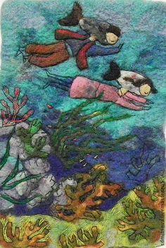 Картина из шерсти. Иллюстрация к книге. - тёмно-бирюзовый,море,глубина