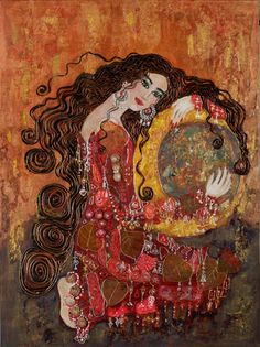Anne-Marie Zilberman No spring nor summer's beauty hath such grace As I have seen in one Autumnal face. Art And Illustration, Painting Inspiration, Art Inspo, Art Klimt, Art Amour, Arte Judaica, Jewish Art, Face Art, Art Boards