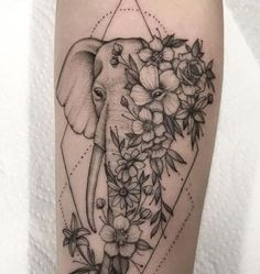 Cute Tiny Tattoos, Dope Tattoos, Leg Tattoos, Tatoos, Thigh Tattoo Designs, Tattoo Sleeve Designs, Flower Tattoo Designs, Arm Elephant Tattoo, Elephant Tattoo Design