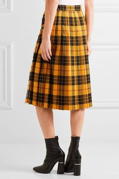 Gucci - Appliquéd Plaid Wool Midi Skirt - Yellow - IT36