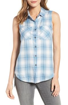 Billy T Cutout High/Low Chambray Shirt