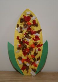 "Tissue paper decorated Indian Corn. Great fall activity for kids without ""endorsing"" Halloween. Wonderful idea for a craft at the park."