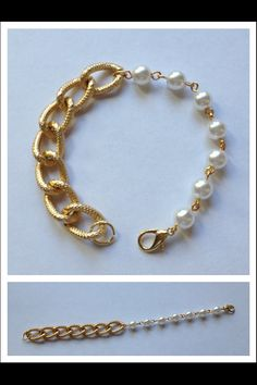 The Kirsten Pearl and Gold Chain Bracelet by CathrynAnnDesigns, $25.00