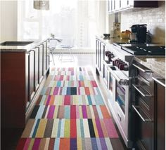 Love the multicolored stripes of these Flor squares to make a rug or runner. Want!