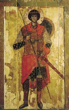 Novgorod icons. Saint George. Temple icon of Saint-George Cathedral in Yuryev monastery near Novgorod. 1130–1140-s. State Tretyakov Gallery ...