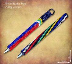 Beaded SA Flag Pens