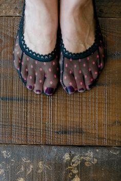 Lace Peep Toe Socks, Heels Socks, All Lace Socks, Short Bootie Sock, Women's Fashion Lace Ankle Sock in Polka Dot Black on Etsy, $8.99