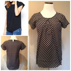 """Polka dot blouse PNew without tags black and white polka dot blouse. Pleated on the front at neck, and split with button in the back-no button closure. Stock photo is similar but not exact. Size S: 18""""UA, 26""""L. Tops Blouses"""