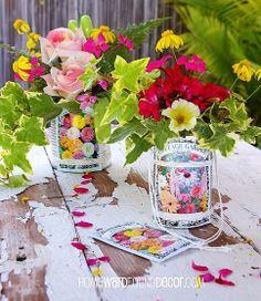 happy may day make flower baskets from tin cans, crafts, flowers, gardening, Tin cans seed packets and string combine to create darling little flower baskets buckets for May Day giving Rustic Crafts, Diy Crafts, Vintage Crafts, May Day Baskets, Tin Can Flowers, Bee Creative, Back In The 90s, Happy May, May Days