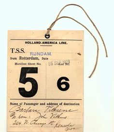 """Immigrant Outer-Garment ID Tag    Each immigrant received an Immigration ID Card that was attached by a string to their outer garment and was worn throughout their inspection process at Ellis Island.    Steamship Line: Holland-America Line    Vessel: T.S.S. Rijndam (often referred to as the """"Ryndam"""")    Route: from Rotterdam, Date: 26 Sep 1923 (Arrived in New York 6 October 1923)    Passenger List: Manifest Sheet No. 5, List No. 6    Name of Passenger and address of destination"""