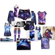 SUPER GALAXY by hannah-199-hh on Polyvore featuring Converse and Vans