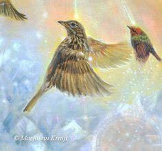 Spiritual symbolic art, animals, orbs, crystals. www.marjoleinkruijt.com