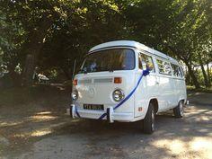 Royal blue ribbons on VW T2 Westfalia in Devon