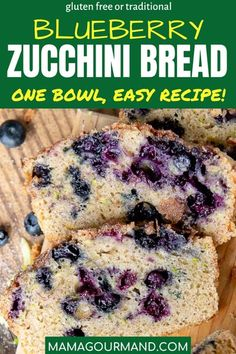 Blueberry Zucchini Bread has summer flavors of fresh blueberries and zucchini with a cinnamon sugar topping all mixed in a one-bowl quick bread. This easy zucchini bread recipe has simple adaptations to make it healthy or gluten free. #zucchinibread #blueberry #easy #glutenfree Tasty Bread Recipe, Bread Maker Recipes, Healthy Bread Recipes, Blueberry Zucchini Bread, Easy Zucchini Bread, Quick Bread, Bake Sale Recipes, Trifle Pudding, Pinterest Recipes