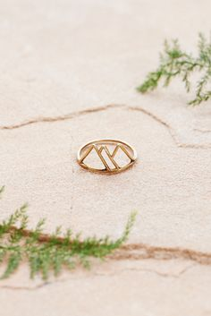 Ring with tri-mountain design by Portland brand Red Wolf. Lightweight, and easy to wear anywhere - even in the mountains!