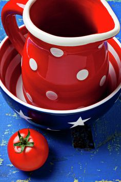 Dotted Red Pitcher And Tomato