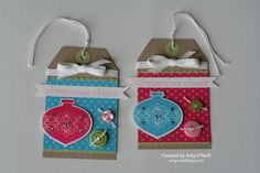 Stamps:  Tags til Christmas, Sweet Essentials Ink:  Pretty in Pink, Melon Mambo, Tempting Turquoise Paper:  Crumb Cake, Certainly Celery, Whisper White, Brights DSP Stack Embellishments:  Ornament punch, Subtles Designer Buttons, Whisper White Baker's Twine, Whisper White 1/4″ Stitched Grosgrain Ribbon, Rhinestone Basic Jewels, Dotted Scallop Ribbon Border punch