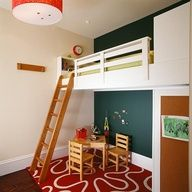 Love this loft bed design - like how its built-in, wall to wall. Great for small rooms... do the play things when they are younger and when older put a futon or desk in there
