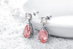 Yellow Chimes Pink Beauty A5 Grade Crystal Earrings for Women & Girls