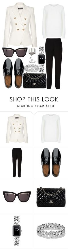 Outfit #141 by sofi6277 on Polyvore featuring T By Alexander Wang, Balmain, Maison Margiela, FitFlop, Chanel, David Yurman, Elizabeth and James and Christian Dior