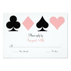 Las Vegas Wedding Invitations Pink Destiny Las Vegas Wedding RSVP reply card