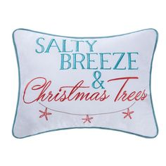 Set a cozy winter scene in your home with the holiday coastal themed Salty Breeze and Christmas Trees throw pillow. Crafted with a cotton cover, this pillow features Salty Breeze and Christmas Trees embroidered in a soothing sea blue and coral colorway accented with a whimsical starfish garland. Finished with a piped edge, this pillow is sure to bring a beachy vibe coastal holiday decor. Coastal Christmas Decor, Tropical Christmas, Beach Christmas, Christmas Store, Christmas Pillow, Christmas Trees, Nautical Christmas, Holiday Decor, Turquoise Christmas