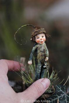 One of a kind miniature artdoll Bufki 1:12th by Tatjana Raum dollhouse size