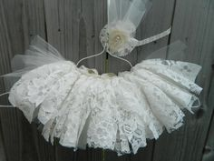 Lace tutu vintage tutu tutu cream tutu bridal by LittleBirdBands