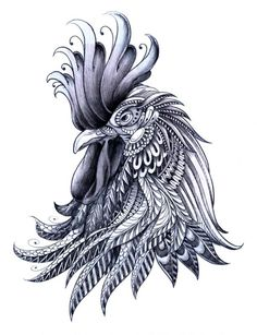 rooster tattoo black - Google Search