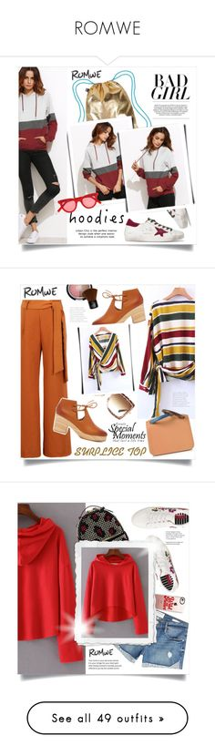 """""""ROMWE"""" by ainzme ❤ liked on Polyvore featuring LOQI, Golden Goose, Gentle Monster, WithChic, Kelsi Dagger Brooklyn, Dita, Roksanda, Frame, Betsey Johnson and Les Petits Joueurs"""