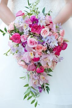 pink and purple cascading bouquet by the flower studio bridal bouquet Wedding Brooch Bouquets, Bride Bouquets, Flower Bouquet Wedding, Flower Bouquets, Cascade Bouquet, Pink Bouquet, Amazing Weddings, Romantic Weddings, Baby Blue Weddings
