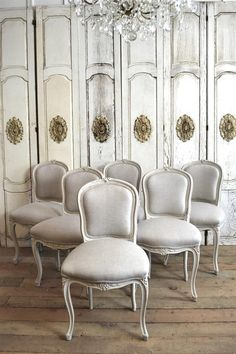 Vintage French Dining Chairs in Belgium Linen from Full Bloom Cottage