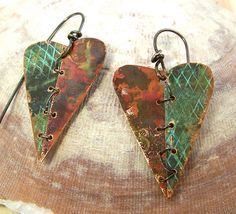 Two Halves Copper Earrings by amy volchok