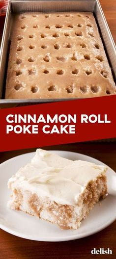 Cinnamon Roll Poke Cake Rivals The Real ThingDelishYou can find Sweets desserts and more on our website.Cinnamon Roll Poke Cake Rivals The Real ThingDelish Cake Mix Recipes, Baking Recipes, Mr Food Recipes, Cake Mixes, Picnic Recipes, Healthy Recipes, Cream Recipes, 13 Desserts, Baking Desserts
