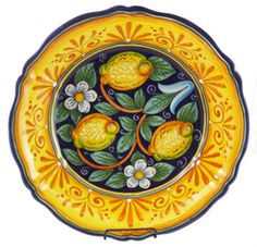 Delightful ceramic serving bowl, made in Deruta, Italy, with lemon design and scalloped edges. $210