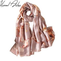 Print Peace Dove Birds 100% Thin Natural Silk Wraps Shawls and Scarves 180*90cm