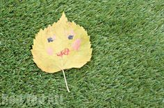 """Simple Leaf Faces. The kids own """"invention"""". Simple and fun way to get creative."""