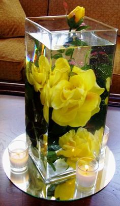 Another idea for centerpieces...floating flowers with candles on the outside.