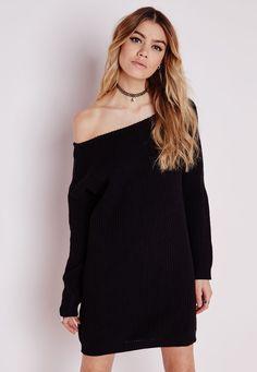 Missguided - Robe-pull épaule dénudée Ayvan noire