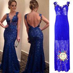 e623d4cb3cab3ae Женщины сексуальная длинные вечерние мяч Пром платье формальных невесты  партии кружева коктейль платье синее платье