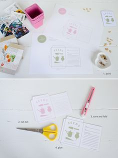 Print your own saved seed bags Paper Crafts, Diy Crafts, Seed Starting, Edible Garden, Bunt, Cleaning Hacks, Stencils, Seeds, Things To Come