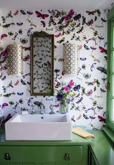 Robert Abbey Jonathan Adler Parker Half Round Wall Sconce in Brass Funky Wallpaper, Butterfly Wallpaper, Bathroom Wallpaper, Butterfly Bathroom, Pattern Wallpaper, Wallpaper Ceiling, Print Wallpaper, Bathroom Curtains, Bathroom Interior